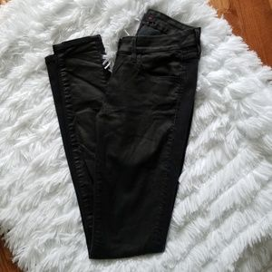 3X1 W2 Black Contrast Coated Skinny Jeans